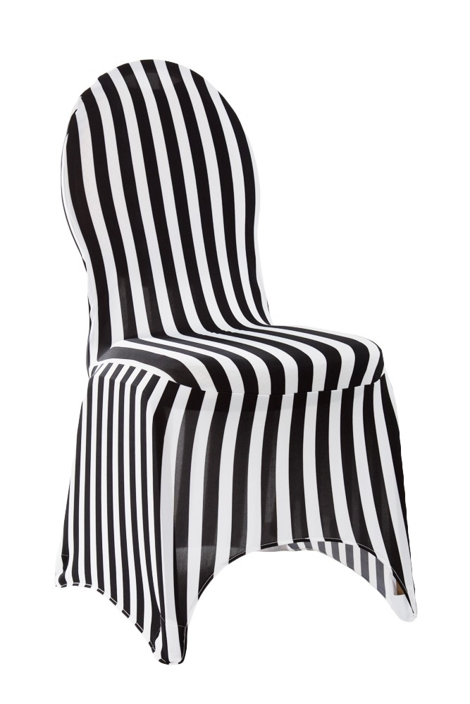 eb inc events black white striped spandex chair cover