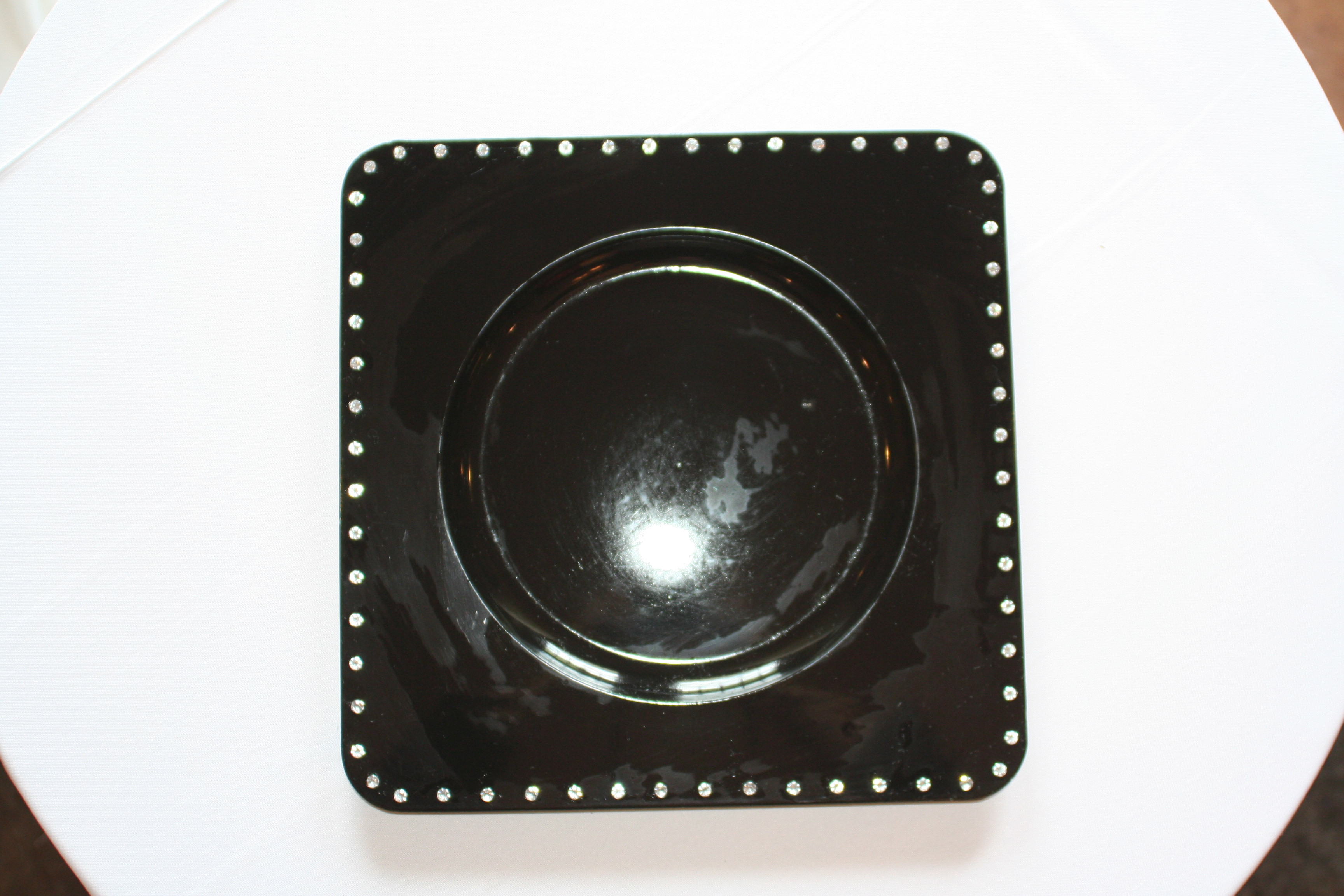 Eb Inc Events Black Square Chargers With Rhinestones & Square Gold Charger Plates - Castrophotos